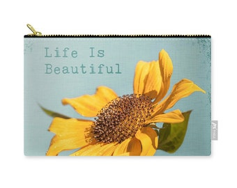 Sunflower Clutch, Laptop Bag, Make Up Storage, Accessory Bag, Cosmetic Pouch, Bridesmaid's Gift, Wedding, Summer, aqua, yellow -NO. 0988-5T