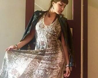 vintage 1990s lace maxi floral dress - size 6