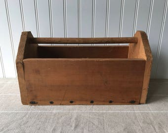 Vintage Wood Tool Box, Wooden Carpenter's Tool Caddy, Tool Shed Box, Carry All, Garden Tote, Rustic Farmhouse, Country Cottage Decor
