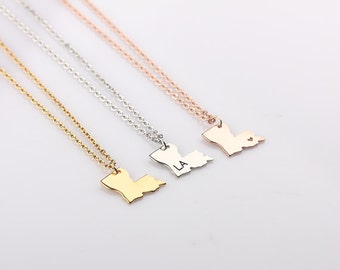 Dainty Louisiana Necklace, Louisiana Bracelet, Rose Gold State Necklace, State Bracelet, Home State Louisiana Jewelry, Christams Gift Idea