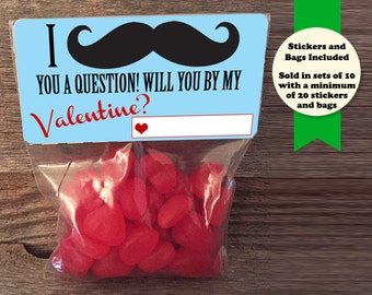 mustache valentines treat bags mustache you a question small treat bags school valentines - Valentine Bags For School
