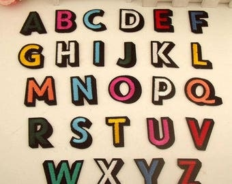 Letters Patch Alphabet Embroidered Applique Colorful Letters Patches