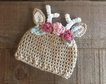 Deer beanie, crocheted baby beanie, flower hat, reindeer hat, crocheted deer hat, photo prop, baby gift, baby accessory