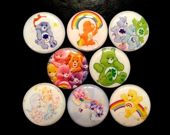 "8 pcs. CARE BEARS 1"" flatback cabochon Hair bow centers embellishments"