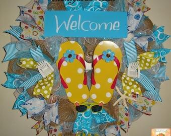 Moving Sale! - Yellow Polka Dot Flip Flops Welcome Burlap and Mesh Wreath/Beachy Decor/Flip Flops Burlap Wreath, Flip Flop Wreath