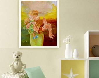 Art print mother and child | Gift for her | Canvas art print | Motherly love | Childhood | Pediatrics | Angel painting | Linda Knotter