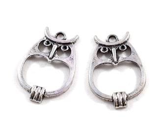 2 Large Antique Silver Open Owl Pendants, Owl Pendant, Metal Owl Pendant, Silver Pendant, Silver Owl Pendant