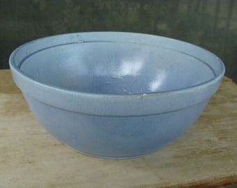 "Large Antique Yelloware Salt Glazed Stoneware Mixing Bowl Blue Pottery Bowl USA 10"" +"