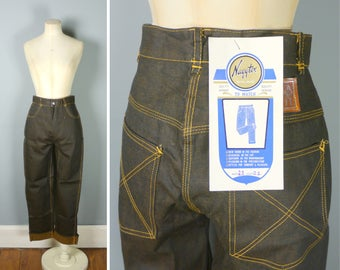 """NAYYTEX jeans - 50s 60s DEADSTOCK dark blue/black yellow washed WORKWEAR high waisted denim trousers still with tags! 26-27"""" waist"""