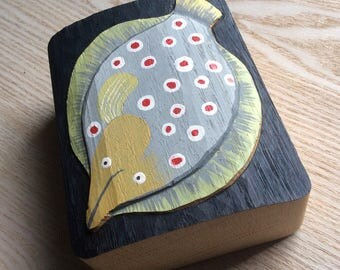 FLOUNDER, WOOD RELIEF in wood oak