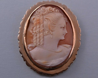 9ct Rose Gold Vintage Brooch With Shell Cameo (870q91)