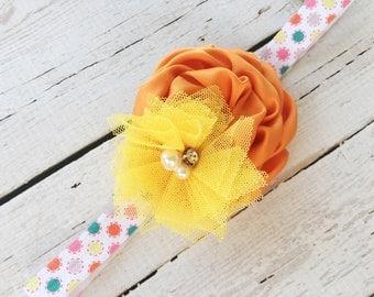 Easter Headband - Girls Easter Rose Headband - 2nd Birthday Headband - Colorful Polka Dot Headband - Orange Yellow Flower Headband for Girls