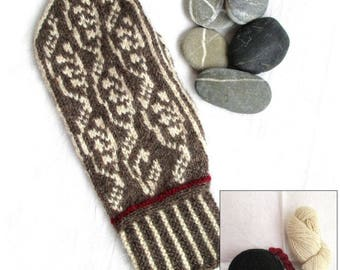 Lingonberry Mittens, make-your-own kit, black/offwhite/red, wool angora yarn, pattern included, Made in Sweden, mitten knitting kit