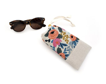 Padded Sunglasses Case with Cleaning Cloth in Les Fleurs Canvas Fabric by Rifle Paper Co. Made in Vermont by Made on Main VT