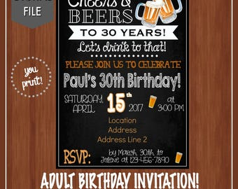 30th Birthday Party Invitation  - Any Age - Digital - Adult Birthday Invitation - Cheers & Beers - Cheers to 30 Years - Dirty 30 - 30th