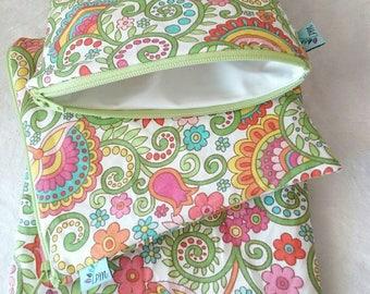 Rainbow Floral   Cloth Pad Wetbag   SMALL
