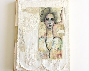 Original Mixed Media Portrait on Vintage Ledger Paper and Vintage Linens, 8x10, ready to hang art, shabby chic decor