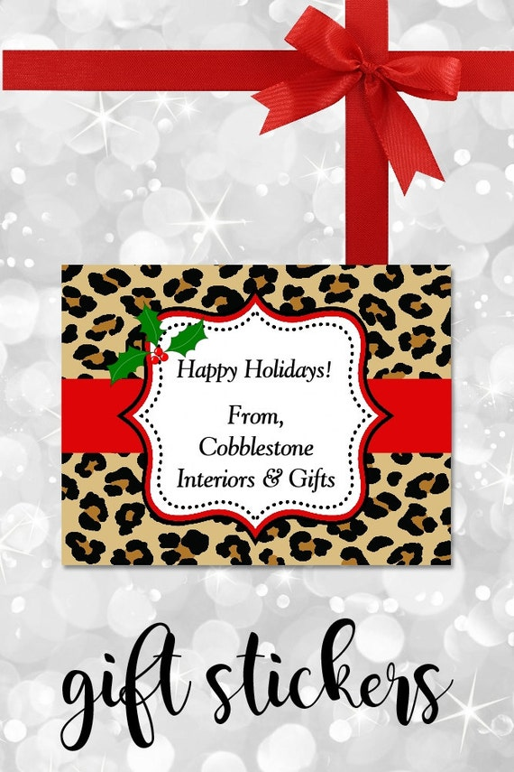 Christmas Stickers, Gift Labels, Leopard Stickers, Gift tags, Personalized Stickers, Animal Print Labels, Custom Labels, Personalized Labels