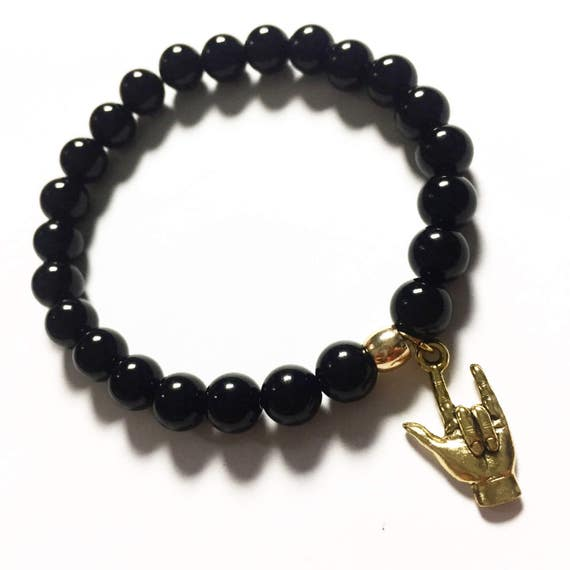 Glossed Onyx Beaded Charm Bracelet, Choose Your Charm, Custom, Gold Plated, Mala, Yoga, Meditation, Unisex, Men, Women