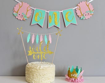 Wild one birthday, first birthday, girls first birthday, cake smash, cake smash outfit, high chair banner, birthday crown, cake topper