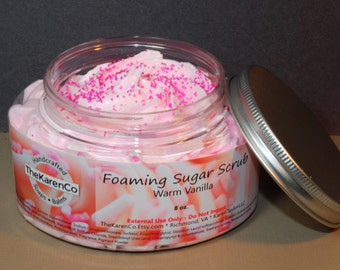 Whipped Sugar Scrub, Warm Vanilla, Cream Soap, Foaming Soap, 8 oz jar