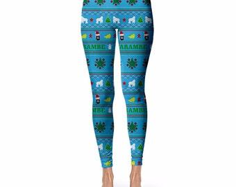 Harambe Christmas Leggings, Meme Christmas Sweater, Meme Leggings,  Funny leggings, Christmas Gifts