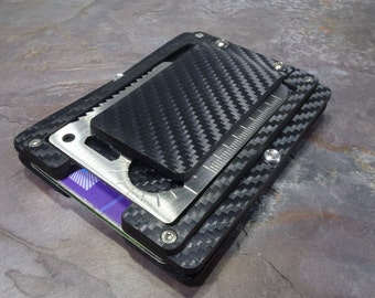 MultiWallet Carbon. Holstex EDC Tactical Wallet Carbon Fiber Texture. Multi tool and money clip.