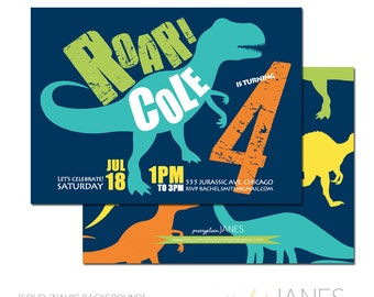 "Dinosaur Birthday Invitation | Dinosaur Digital Printable Invite | Dino Party Invite - 5X7 with *bonus reverse side"""
