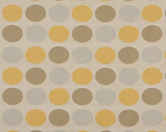 Beige Gold And Gray Polka Dots Woven Solution Dyed Indoor Outdoor Upholstery Fabric By The Yard | Pattern # A0136A