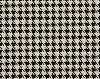 Black And Beige Hounds Tooth Woven Solution Dyed Indoor Outdoor Upholstery Fabric By The Yard | Pattern # A0119A