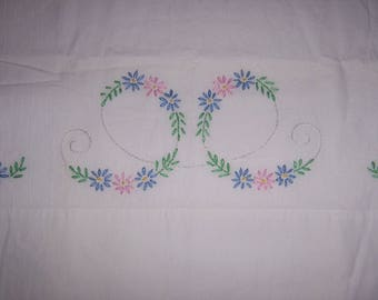 Vintage Hand Embroidered Pillowcase - Pink & Blue Flowers Daisies Scroll Pattern 20x30