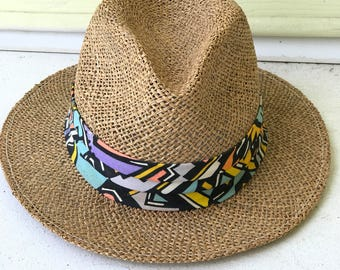 Panama Jack Original Straw Fedora Colorful Cloth Band/1980's/Size Large 7.535.00/Margaritaville/Retro Resort Wear/Jimmy Buffet/Made in USA