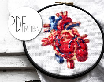 Modern cross stitch pattern, heart hand embroidery pattern, realistic xstitch cross stich design, nerdy geeky crossstich pattern HUMAN HEART