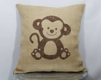 Personalized monogrammed w/ name custom made rustic burlap monkey brown (or custom color) pillow cover/sham-Customized size and color option