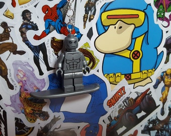 Silver surfer minifigure keyring jewellery Marvel villains Comics fits with lego