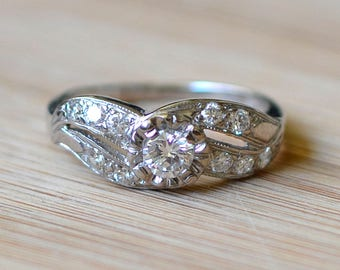 Vintage Diamond Engagement Ring - Antique Engagement Ring - Size 6 Engagement Ring - 1940s Diamond Ring - Antique Diamond Ring