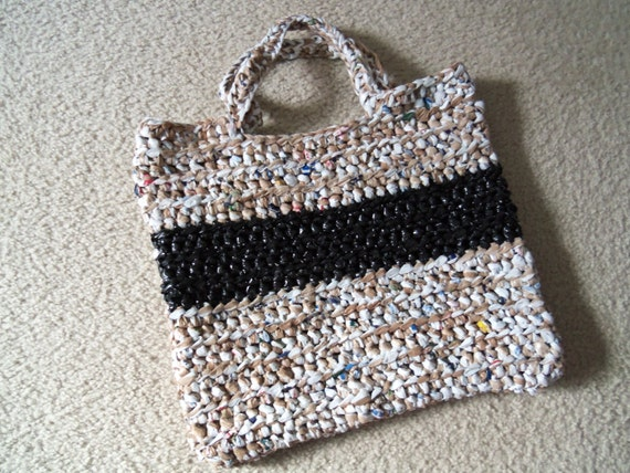 Tote made from recycled plastic bags (plarn). Brown/white with black stripe.....Free shipping!