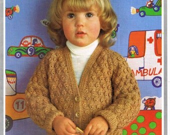 Small Child's Boy's Girl's V Neck Cardigan  Hayfield Double Knitting 1490 size 53 to 58 cm (21 to 23 inches) Vintage Retro Knitting Pattern