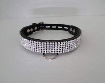 lockable real leather rhinestone diamante choker fetish bondage slave collar with hanging d ring