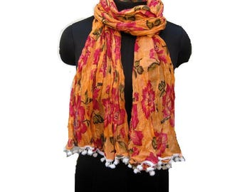 Floral print scarf/ cotton scarf/ lace scarf/ gift  scarf / orange scarf/ /  gift ideas.