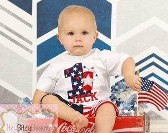 Boys First Birthday July Patriotic Shirt Short Outfit Fireworks Firecracker Red White And Blue