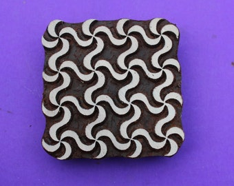 Hand Carved Large Square 4 inch Wood Stamp Big Swirl Geometric Textile Indian Print Block