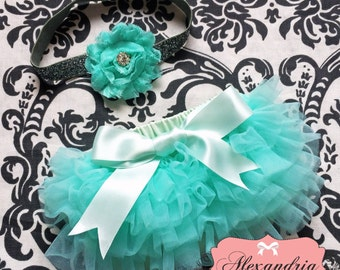 MINT BLOOMER set,  baby headband and chiffon ruffle diaper cover, mint and silver baby set, bloomer with bow..