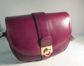 Vintage 'Claudie Quentin' Maroon Leather Handbag With Long Strap - Lovely!!