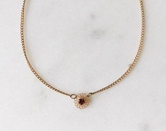 "Dead Stock Vintage Delicate Garnet Gold Floral Pendant 16"" Birthstone January"