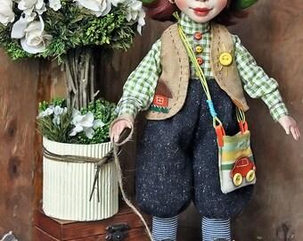 Art doll, interior doll, ooak, artist,gnome Ginger