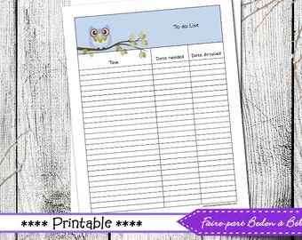 To do  List Owl printable - To do list planner - To do list - printable list - Printable organizer - Digital printable