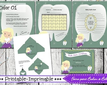 Tooth Fairy Kit - Certificate - Tooth Fairy letter - Envelope - Dental growth and fallout chart - brushing chart - printable