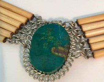 Vintage Turquoise and Bamboo Choker Necklace ,Woodstock