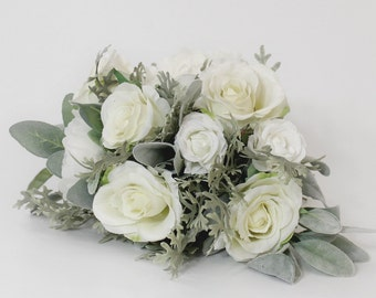 White and Gray Garden Bouquet, Silk Bridal Boquet, Christmas Holiday Winter Wedding, Silver Grey Greenery, Faux Flowers, Bride or Bridesmaid